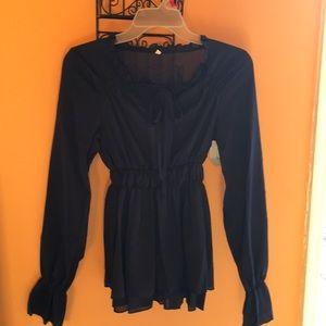 Tops - Pretty navy sheer blouse